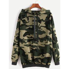 Camo Print Drop Shoulder Drawstring Hooded Sweatshirt ($14) ❤ liked on Polyvore featuring tops, hoodies, green, hoodie pullover, camouflage hoodies, camouflage hoodie, pullover hoodies and long sleeve tops
