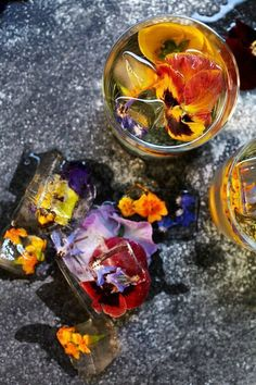 I would FOR SURE make edible flower ice cubes for champagne cocktails and the like if I was not me.