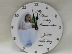 Personalised Communion clock. €29.99 Personalised Gifts, Communion, Clock, Plates, Tableware, Personalized Gifts, Watch, Licence Plates, Dishes