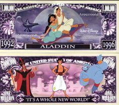 Novelty Money 25 Bills Animation Movies Set Aladdin Lion King Frozen And More Disney Movies Aladdin Disney Movie, Disney Movie Characters, Disney Art, Money Animation, Animation Movies, Optimus Prime Toy, Disney Money, Weird Stuff On Amazon, Disney Images