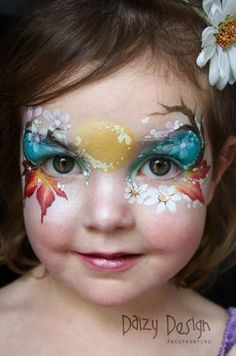 flowers and leaves face paint make up, how they got her to sit still for all of that, I have no idea! #HowtoFacePaint