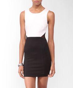 Colorblocked Mesh Inset Dress (Ivory/Black). Forever 21. $19.80