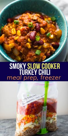 This smoky slow cooker turkey chili is rich and bold in flavor- with chipotle chilis, ground turkey, kidney beans and plenty of spices. The slow cooker makes this easy and hands off to prep, and it works great for meal prep!  #sweetpeasandsaffron #turkeychili #slowcooker #freezer #easydinner