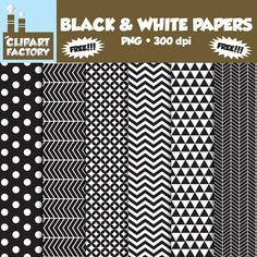A collection of black and white digital papers in various patterns that can be used for backgrounds and a variety of other purposes. This pack includes:  - 6 Different backgrounds - Images are sized for 8.5x11 - 300 dpi files - PNG Format  This product was created for personal and commercial use.