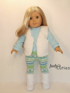 Aqua-winter White 4 Piece Outfit Doll Clothes Fit American Girl Doll Only