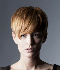 A short blonde straight coloured multi-tonal hairstyle by Bundy Bundy