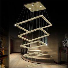 Modern stainless steel 5 Rings Crystal LED Chandelier Light Fixture Crystal Light Lustre led Light 118W AC110-260V TWT-897