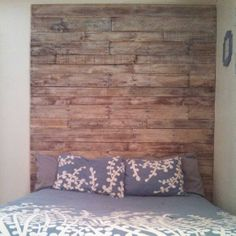 White washed pallet headboard