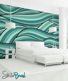 water stylization - mural research - Wall Mural Decal Sticker Arco Ocean Green Color Ocean Mural, Wall Mural Decals, Diy Home Decor, Room Decor, New Room, Design Case, Interior Design Living Room, Decoration, House Design