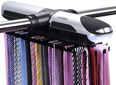 Primode Motorized Tie Rack With LED Lights - Closet Organizer, Stores and Displays Up To 72 Ties With 8 Belts, Rotation operates with batteries. Great Gift Idea >>> Huge discounts available now! : Budget Home Decor