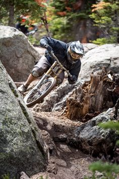 Rider cutting quick on Boondocks at Northstar Mountain Bike Park