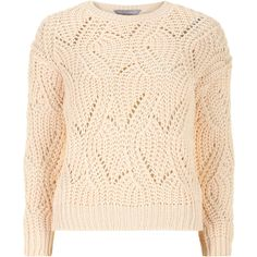 Dorothy Perkins Petite peach swirl cable knit jumper (£18) found on Polyvore