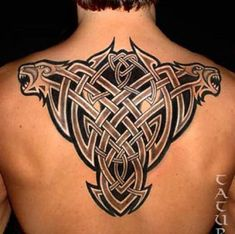 Large Celtic Lion Tattoo on Back. Forearm Tattoos, Tribal Tattoos, Polynesian Tattoos, Lion Back Tattoo, Tattoos For Guys, Body Art, Men, Celtic, Conversation