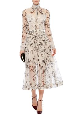 Silk Organza Swallow Printed Blouse and Skirt by Rochas Now Available on Moda Operandi