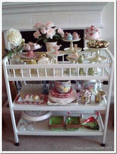 Sturdy baby changing table turned tea cart