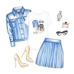 Printed t-shirt, Denim jacket, Denim skirt, Nude pumps