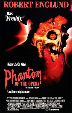 John's Horror Corner: The Phantom of the Opera Robert Englund's gory reimagining of Gaston Leroux's fictitious classic composer. Robert Englund, Horror Movies On Netflix, Newest Horror Movies, Scary Movies, Horror Films, Awesome Movies, Halloween Movies, New Nightmare, Nightmare On Elm Street