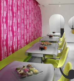 The wallpaper back, bench and table combo. Not these colors. Maybe two tables  #modern