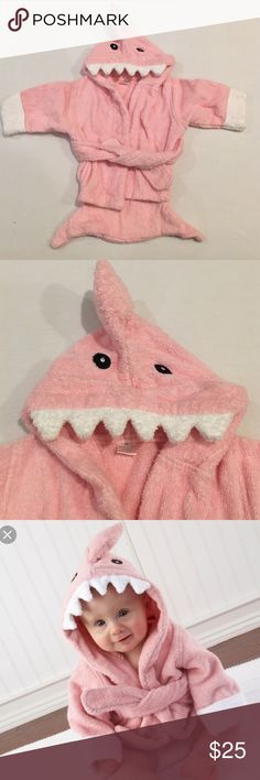 Baby shark bathrobe (pink and blue) 2 available! Both 0-6m size only worn 1x for a photo- like new!!! Baby Aspen Other