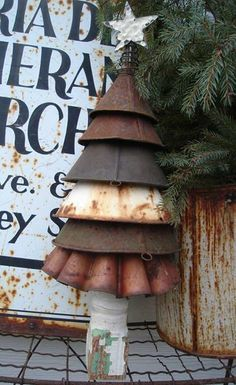 Old funnels reused to make a Christmas tree