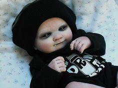 Ooak horror goth art doll ~ Preemie Vampire baby ~