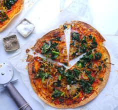 Kale and sweet potato pizza from The Lazy Baker