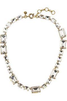 Rectangle gold-tone crystal necklace #jewelry #women #covetme #j.crew#matchingnecklacetoearringialreadyhave