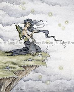 """""""Tea with the Rabbit Spirit"""" PRINTS-OPEN EDITION - Faeries - Amy Brown Fairy Art - The Official Gallery"""