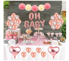 Baby Shower Decoration Set, Rose Gold Theme Baby Shower Decoration With OH BABY Banner Rose Gold Balloon And Tissue Paper Pom Poms Toal For Baby Shower Party Decoration What Are Included – heart style rose gold foil balloon, . Baby Shower Simple, Baby Shower Roses, Cute Baby Shower Ideas, Baby Girl Shower Themes, Baby Shower Parties, Shower Party, Girl Baby Shower Cakes, Baby Shower Princess, Bridal Shower