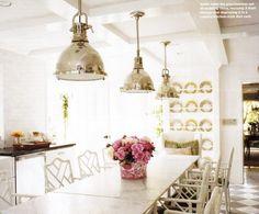 light fixtures. plate rack. painted floor.