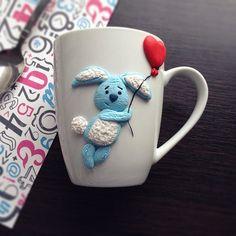 Хотели бы улететь на воздушном шарике?))) #cup #polymer_clay #polymerclay…