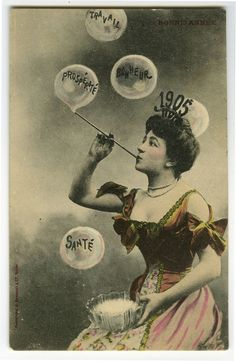 1905 Happy New Year Bubble Lady Greetings Rotogravure Photo Postcard | eBay