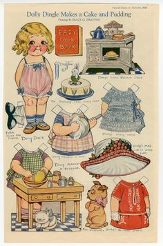 Dolly Dingle Makes a Cake and Pudding  paper doll  1922  Artist:  Grace G. Drayton