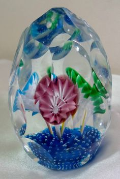 Bubble Glass Paperweights | ... Style Italy Faceted Art Glass Controlled Bubble Paperweight NICE