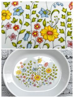 Excited to share this item from my #etsy shop: Serving Platter Tray by Corelle Meadow Corning Ware 70s Decor Flower Power Pastel Wildflowers Spring Country Cottage Garden Kitsch Brunch