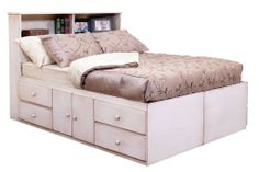 """Gothic Cabinet Craft - Storage Bed, 10 Drawers on glides $1,24860. Storage Bed Full (mattress size 54x75),  Overall size 56""""D x 77""""W x 20""""H. Platform height 18"""". Drawer size, inside clearance 22-1/2"""" x 22-1/2"""" x 6-3/4"""" IN TWO PIECES: Each half measures 28"""" x 77"""" x 20"""". IN FOUR PIECES (add$110): (2) pieces measure 28"""" x 26"""" x 20"""", (2) pieces measure 28"""" x 51"""" x 20""""."""