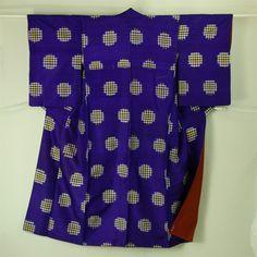 Blue purple, vintage komon kimono / 青紫地格子の丸柄小紋