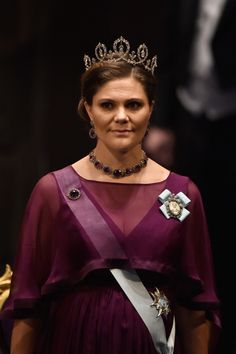 Princess Victoria Photos - Crown Princess Victoria of Sweden attends the Nobel Prize Awards Ceremony at Concert Hall on December 2015 in Stockholm, Sweden. - The Nobel Prize Award Ceremony 2015 Prince Carl Philip, Prince Daniel, Princess Victoria Of Sweden, Crown Princess Victoria, Royal Tiaras, Royal Jewels, Queen Vic, Princesa Real, Swedish Royalty