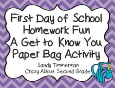 Students LOVE homework on the first day of school!  This get to know you activity is a great ice breaker!  Great for grades K-4!