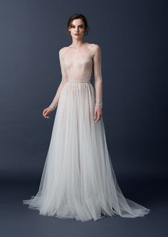 Sleeved ball gown with scattered beading from the Paolo Sebastian 2015 AW collection // The Sleeping Garden: Paolo Sebastian's Autumn/Winter 2015 Collection