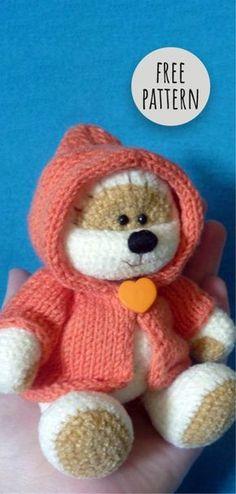 Trendy Ideas for crochet amigurumi baby toys teddy bears Knitting Bear, Teddy Bear Knitting Pattern, Animal Knitting Patterns, Knitted Teddy Bear, Crochet Teddy, Crochet Bear, Stuffed Animal Patterns, Crochet Patterns, Teddy Bears