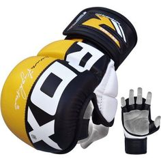 RDX Martial Arts Gloves Grappling MMA Sparring UFC Training Cage Fighting Combat Maya Hide Leather Punching Bag Mitts, Yellow