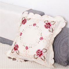 TY1017 European style cushion cover elegant Embroidered flower car covers rustic vintage decorative pillow cover home textile