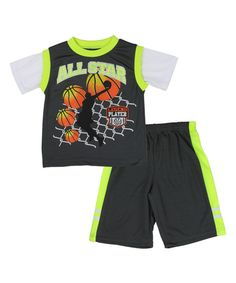 Look at this Charcoal 'All-Star' Layered Active Tee & Shorts - Toddler on #zulily today!