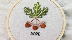 'Rope stitch' is a variation of the twisted chain stitch. Hand Embroidery Videos, Embroidery Patterns, Chain Stitch, Acorn, Needlepoint Patterns, Tassel, Punch Needle Patterns, Embroidery Designs