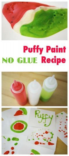 Awesome Kids Art Material - Puffy Paint Recipe - this one is a no glue recipe - making it completely edible Preschool Crafts, Fun Crafts, Crafts For Kids, Summer Crafts, Toddler Crafts, Edible Crafts, Painting For Kids, Art For Kids, Kids Fun