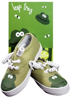 Monkey Toes Little Boys Leap Frog Tennis Shoes (SZ 4) by Pickles by Scene Weaver. $34.99. Little boy shoes come packaged in a fun green box decorated wtih cute little leap frogs. Boys tennis shoes are canvas and can be washed. Leap frog tennis shoes are easy to put on and have no-tie shoe laces. Little boys tennis shoes are green and feature a cute littel frog on the toes. Little boys leap frog shoes are perfect for your little boy catching leap frogs. Your little boy will ...