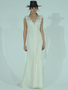 Claire Pettibone lace wedding dress with cap sleeves and a scalloped neckline from Spring 2016