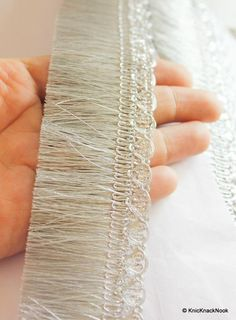 Silver Shimmer Thread Tassels One Yard Trim, Approx. Embroidery Neck Designs, Floral Embroidery, Beaded Embroidery, Swedish Embroidery, Indian Embroidery, Folk Embroidery, Embroidery Stitches, Pram Charms, Pakistani Wedding Outfits