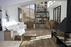 Reclaimed wood floor.; I plan to do this throughtout most of the first floor.........someday.